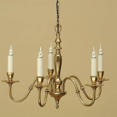 Interiors 1900 ABY1002P5 Asquith Solid Brass 5 Lt Chandelier