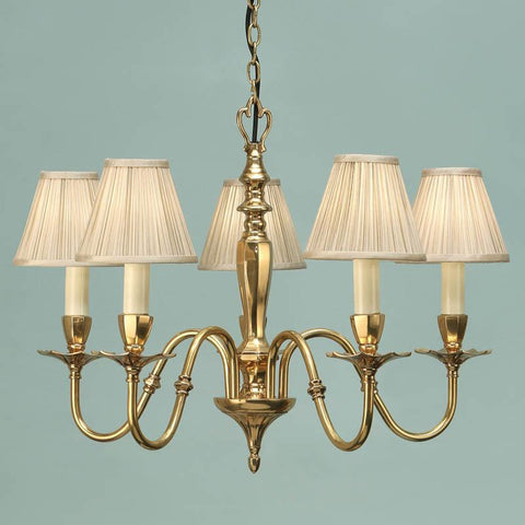 Interiors 1900 ABY1002P5 + CA1SHB x 5 Asquith Solid Brass 5 Lt Chandelier, Beige Shade