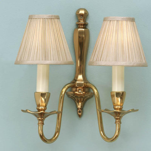 Interiors 1900 ABY1002W + CA1SHB x 2 Asquith Solid Brass Double Wall Light, Beige Shade