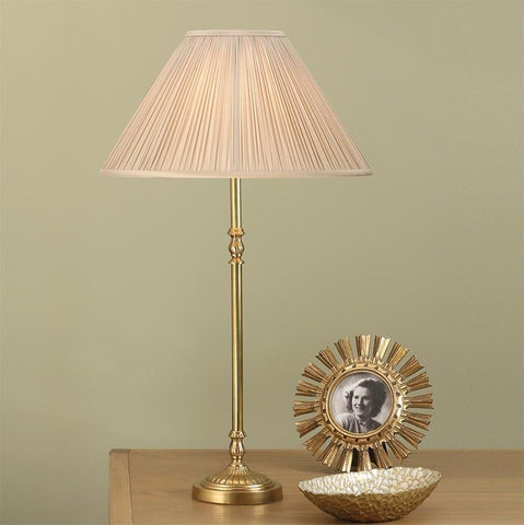 Interiors 1900 ABY133AB + MAT14OYS Fitzroy Brass Table Lamp With Oyster Silk Shade
