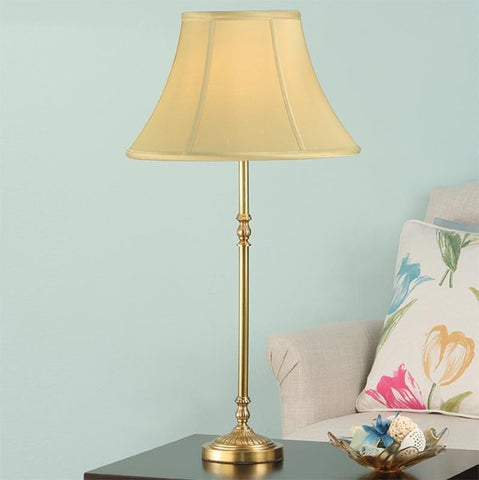Interiors 1900 ABY133AB + ZARA14HON Fitzroy Brass Table Lamp With Honey Silk Shade