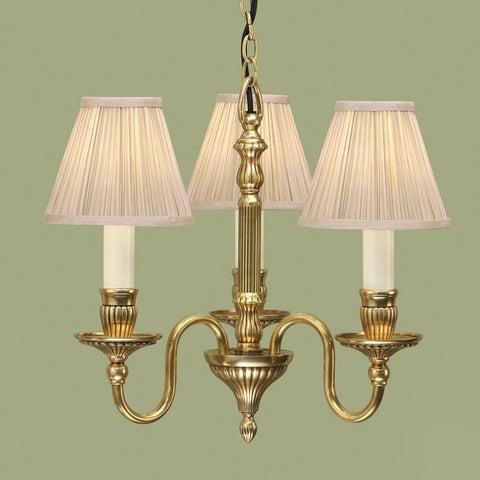 Interiors 1900 ABY133P3 + CA1SHB x 3 Fitzroy Solid Brass 3 Lt Chandelier, Beige Shade