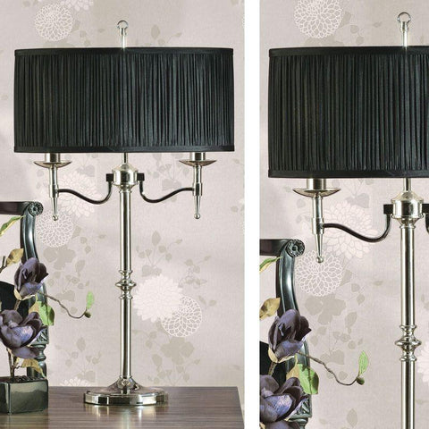 Interiors 1900 CA1TN + CA1TNBSH Stanford Nickel Table Lamp, Black