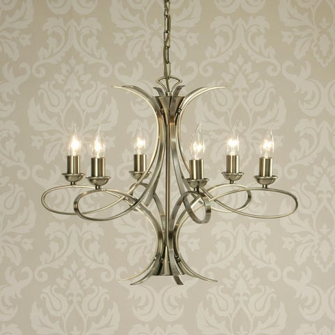Interiors 1900 CA7P6BB Penn 6lt Chandelier, Brushed Brass Finish