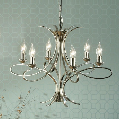 Interiors 1900 CA7P6N Penn Chandelier 6lt Nickel