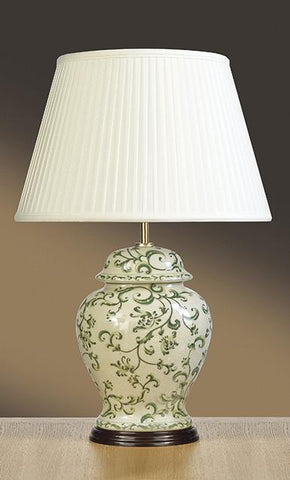 Luis Collection LUI/LEAVES GREEN Green Leaves Temple Jar Table Lamp