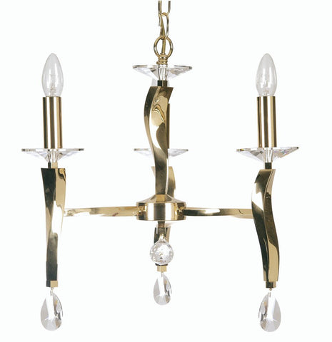 Oaks Aire 719/3 GO Cast Brass 3-Light Chandelier In 24k Gold Plate