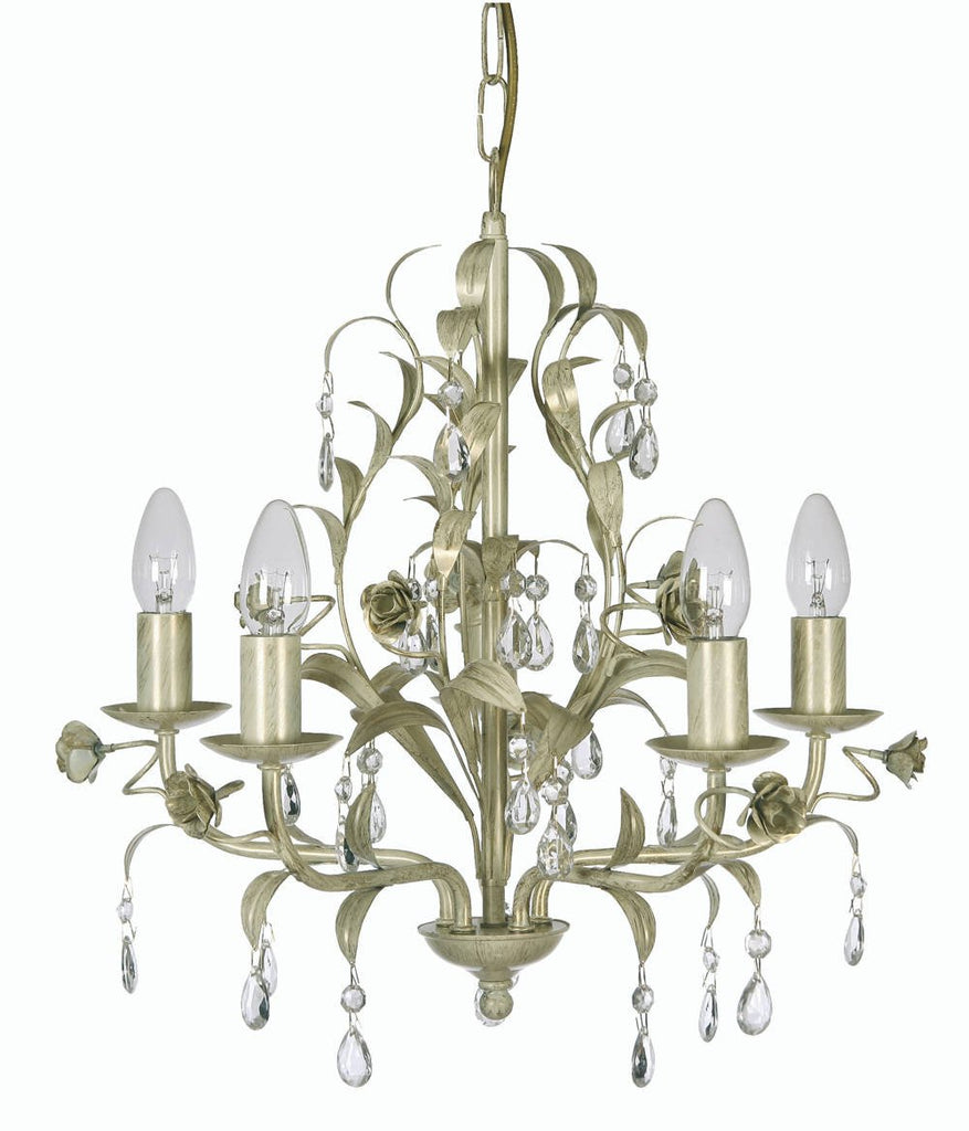 Oaks Catania 1207/5 CG Cream & Gold 5-Light Ceiling Light-Oaks Lighting-DC Lighting Ltd