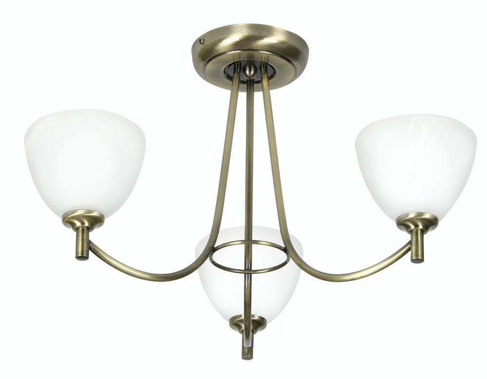 Oaks Hamburg 1178/3 AB Antique Brass 3-Light Semi Flush-Oaks Lighting-DC Lighting Ltd