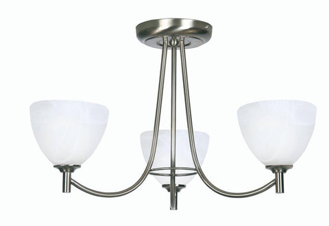 Oaks Hamburg 1178/3 AC Antique Chrome 3-Light Semi Flush