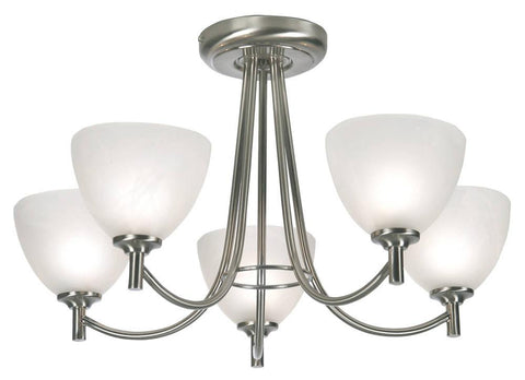 Oaks Hamburg 1178/5 AC Antique Chrome 5-Light Semi Flush