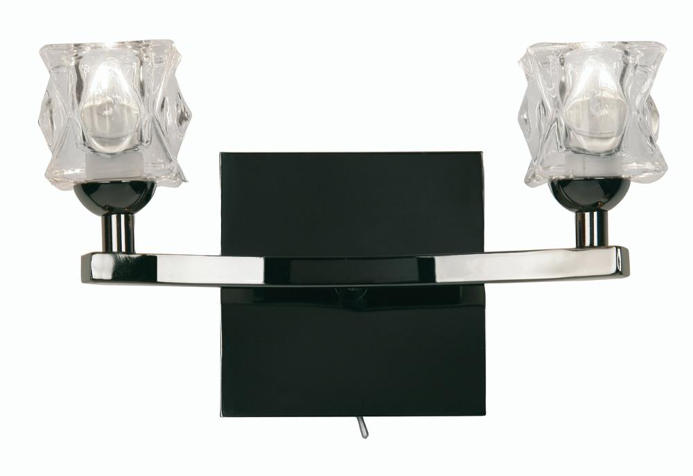 Oaks Kane 1450/2 MB Mirror Black 2 Light Wall Light-Oaks Lighting-DC Lighting Ltd