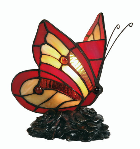 Oaks OT 750 Red And Amber Butterfly Tiffany Light With Bronze Base