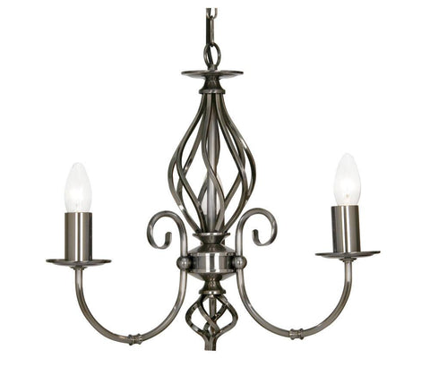 Oaks Tuscany 3380/3 AS 3-Light Chandelier In Antique Silver Finish