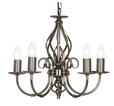 Oaks Tuscany 3380/5 AS 5-Light Chandelier In Antique Silver Finish