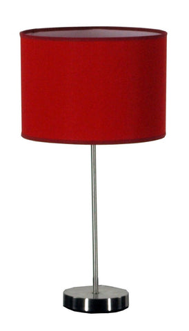Pipe Table Lamp In Satin Chrome With A Drum Shade Available in 17 Colours