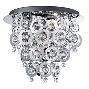 Searchlight 0573-3CC NOVA 3 Light Chrome Flush With Chrome Rings And Clear Acrylic Inserts-Searchlight Lighting-DC Lighting Ltd