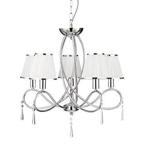 Searchlight 1035-5CC SIMPLICITY 5 Light Chrome Ceiling With Glass Drops And White Fabric String Shades With Chrome Trim-Searchlight Lighting-DC Lighting Ltd