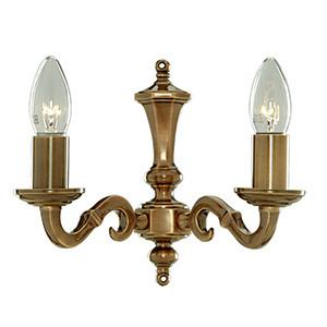 Searchlight 1072-2NG MALAGA 2 Light Antique Brass Wall Bracket Candle No Glass-Searchlight Lighting-DC Lighting Ltd