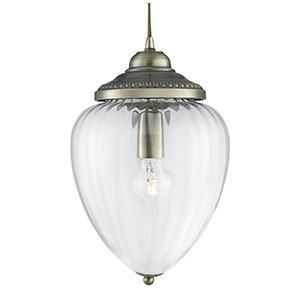 Searchlight 1091AB PENDANTS Antique Brass 1 Light Clear Ribbed Glass Lantern-Searchlight Lighting-DC Lighting Ltd