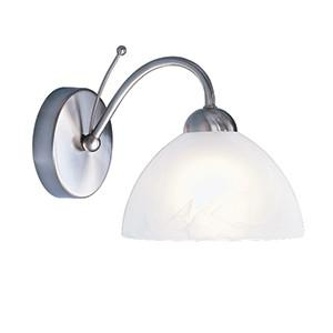 Searchlight 1131-1SS MILANESE 1 Light Satin Silver Wall Bracket With Alabaster Glass-Searchlight Lighting-DC Lighting Ltd