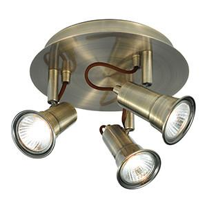 Searchlight 1223AB EROS 3 Light Antique Brass Spotlight Disc - GU10-Searchlight Lighting-DC Lighting Ltd