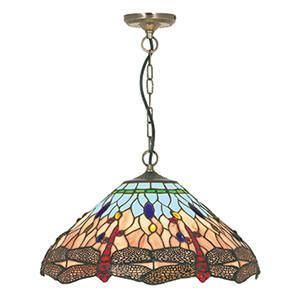 "Searchlight 1283-16 DRAGONFLY 16""Dragonfly Tiffany Pendant Complete With Suspension-Searchlight Lighting-DC Lighting Ltd"