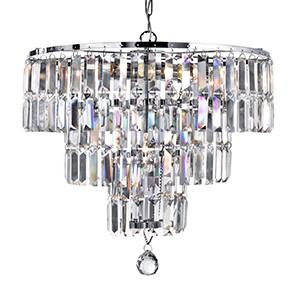 Searchlight 1375-5CC EMPIRE 5 Light Chrome Ceiling With Clear Crystal Coffin Drops