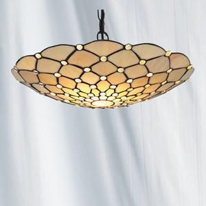 Searchlight 1468CLCW RAINDROP Clear Raindrop Uplighter Complete With Antique Brass Shade Suspension