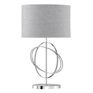 Searchlight 1514CC TABLE LAMPS Rings Chrome Table Lamp With Silver Linen Drum Shade And White Inline Switch-Searchlight Lighting-DC Lighting Ltd