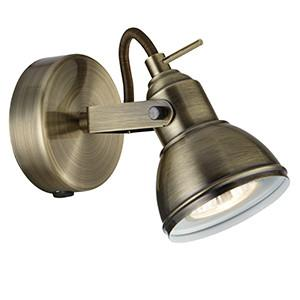 Searchlight 1541AB FOCUS Industrial 1 Lt Antique Brass Spotlight-Searchlight Lighting-DC Lighting Ltd