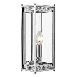 Searchlight 1551CC LANTERNS 1 Light Chrome Finish Rectangular Wall Light With Clear Glass Shade-Searchlight Lighting-DC Lighting Ltd