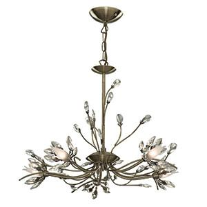 Searchlight 1885-5AB HIBISCUS 5 Light Antique Brass Fitting With Flower Glass-Searchlight Lighting-DC Lighting Ltd