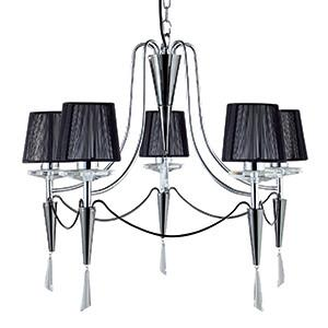 Searchlight 2085-5CC DUCHESS 5 Light Chrome/Black Chrome Fitting Black String Shades
