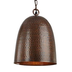 Searchlight 2093-26BZ HAMMERED PENDANTS Antique Bronze Bell Beaten Pendant - Dia 26cm-Searchlight Lighting-DC Lighting Ltd