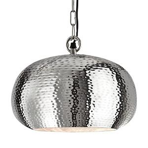 Searchlight 2094-32CC HAMMERED PENDANTS Shiny Nickel Elipse Beaten Pendant - Dia 32cm-Searchlight Lighting-DC Lighting Ltd