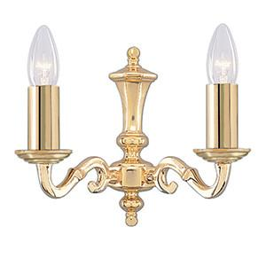 Searchlight 2172-2NG SEVILLE 2 Light Polished Brass Wall Bracket Candle No Glass-Searchlight Lighting-DC Lighting Ltd
