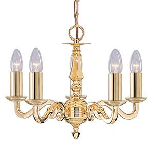 Searchlight 2175-5NG SEVILLE 5 Light Polished Brass Fitting Assembled Candle No Glass-Searchlight Lighting-DC Lighting Ltd