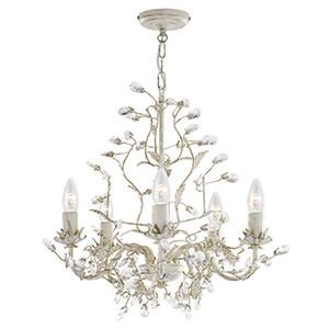 Searchlight 2495-5CR ALMANDITE 5 Light Cream Gold Fitting Complete With Crystal Dress