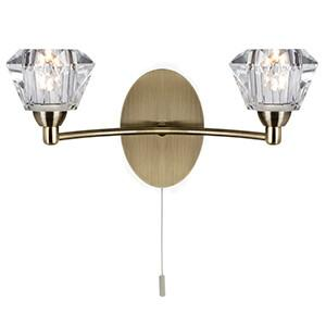 Searchlight 2632-2AB SIERRA 2 Light Antique Brass Wall With Sculptured Clear Glass Shade-Searchlight Lighting-DC Lighting Ltd