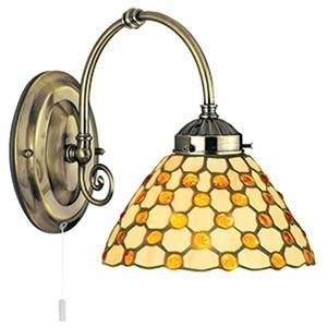 Searchlight 3141-1BR RAINDROP Brown Raindrop Tiffany Antique Brass 1 Light