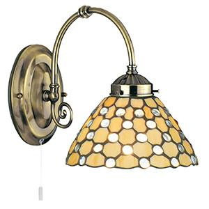 Searchlight 3141-1CL RAINDROP Clear Raindrop Tiffany Antique Brass 1 Light Wall Bracket