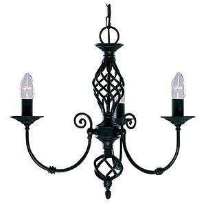 Searchlight 3379-3 ZANZIBAR Zanzibar 3 Light Black Fitting