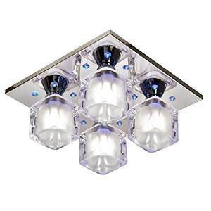 Searchlight 3784-4CC Cool Ice 4 Light G9 Halogen (Included)+LEDs Chrome Flush With Frosted Glass Cube Shades