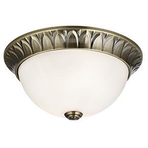 Searchlight 4148-28AB FLUSH 2 Light Antique Brass 28 cm Flush Opal Glass With DetaiLED Trim
