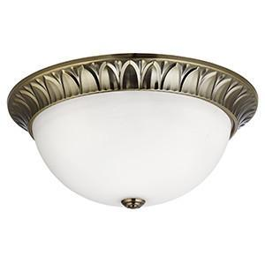 Searchlight 4149-38AB FLUSH 3 Light Antique Brass 28 cm Flush Opal Glass With DetaiLED Trim