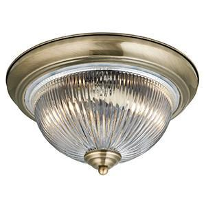 Searchlight 4370 AMERICAN DINER IP44 Flush Bathroom Antique Brass Clear Glass