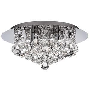 Searchlight 4404-4CC Hanna 4 Light Chrome Flush Crystal Ball Fitting. IP44 Rated For Bathroom Use.