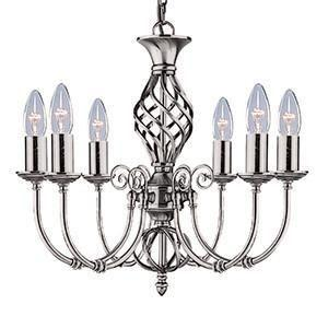 Searchlight 4489-6 ZANZIBAR Zanzibar Satin Silver 6 Light Fitting