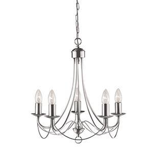 Searchlight 6345-5SS MAYPOLE Maypole 5 Light Satin Silver Ceiling
